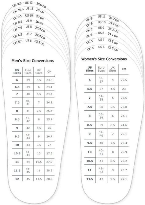 printable shoe size chart us shoes measurement chart for printable adult men and woman