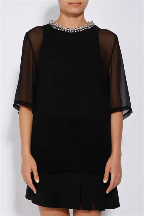 3 1 Phillip Lim Layered Dress With Beaded Collar In Black