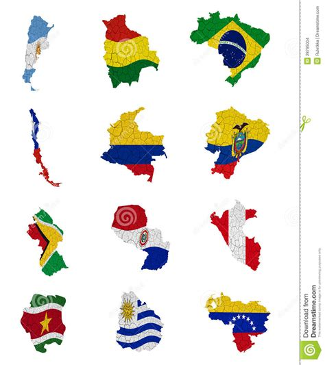 south america map with flags south america countries flag maps stock images image