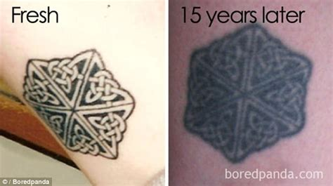 watercolor tattoo 10 years later boredpanda users show tattoos faded in shocking photos