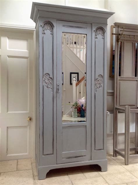 Grey Wardrobe Armoire Pretty Antique Style Carved Edwardian Painted