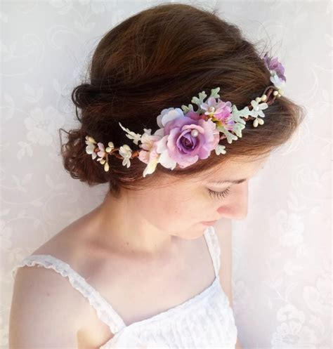 Bando Flower Crown White by Purple Flower Crown Purple Hair Accessories Purple