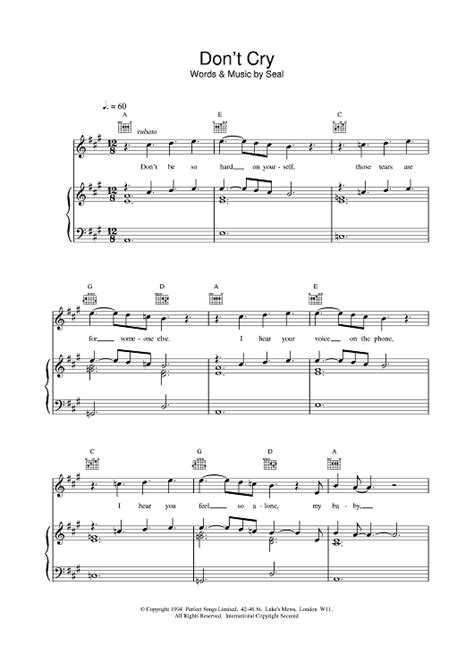 beautiful piano soundtrack don t cry anymore piano vers seal don t cry sheet music onlinesheetmusic com