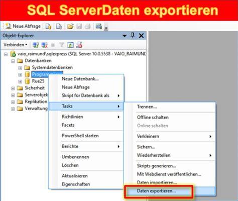 xamarin adsense sql server datenbank daten exportieren datenbank