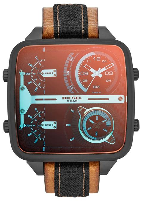 Diesel Time Brown diesel square 4 time displays brown leather mens dz7285 watches leather