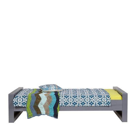 cadre de lit 1 place en bois fsc blanc et gris denis
