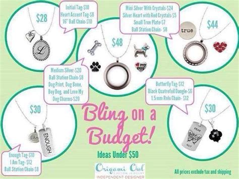 Origami Owl Price Cards - origami owl bling on a budget christie huck