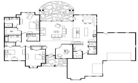 One Floor Home Plans Open Floor Plans One Level Homes Single Story Open Floor Plans Custom Log Home Floor Plans