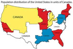 population map of the united states map of the population distribution of the united states measured in canadas