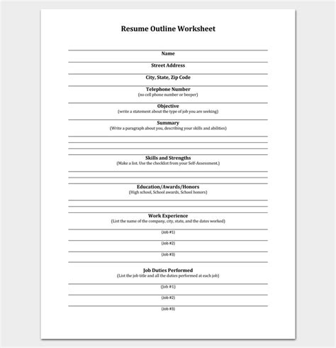 resume worksheet template resume outline template 19 for word and pdf format