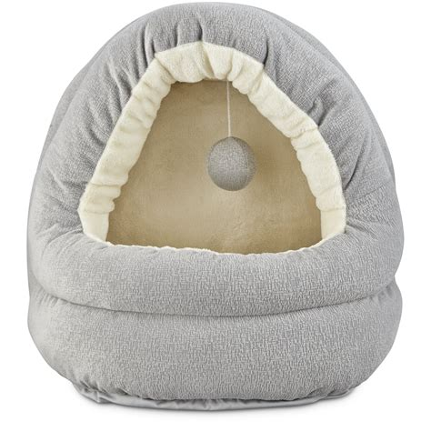 cat beds petco harmony hooded cave cat bed in grey petco
