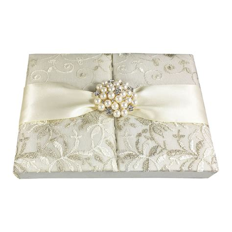 Vintage Lace Invitation Box With Pearl Brooch