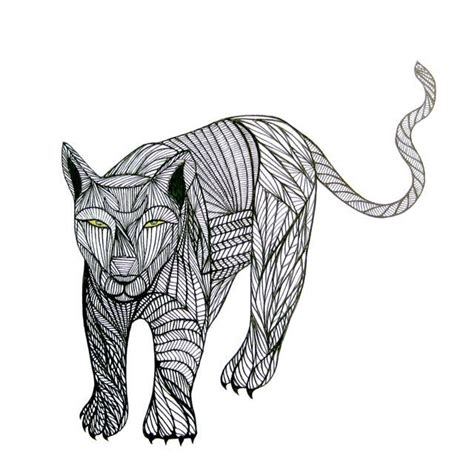 Totem Puma Art Animal Line Drawing By Thailan When Free Shipping 4 99 Via Etsy Art Lodge Free Line Drawings Of Animals