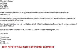 cover letter exles for waitress post reply