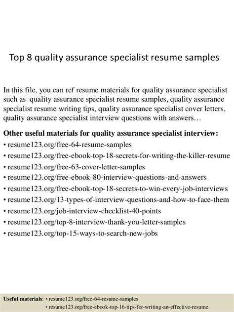 Resume Sample Quality Assurance Specialist by Top 8 Quality Assurance Specialist Resume Samples