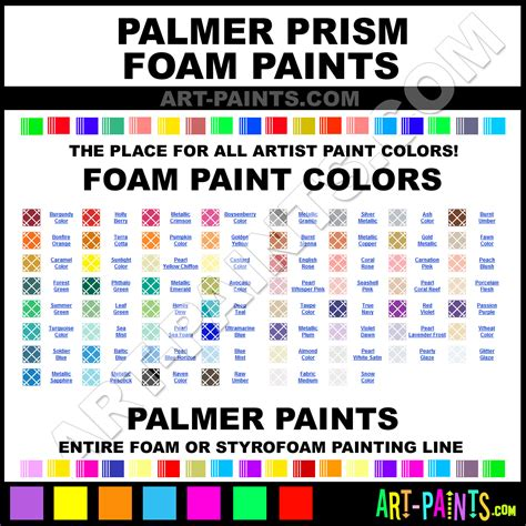 palmer prism foam and styrofoam paint colors foam paint colors palmer prism paint colors