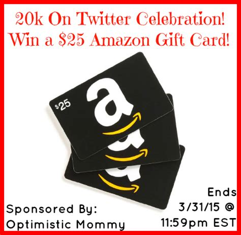 Giveaways On Twitter - 20k on twitter celebration 25 amazon gift card giveaway ends 3 31 optimistic mommy