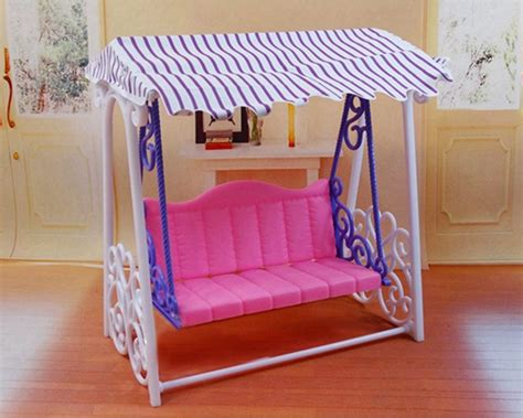 backyard dollhouse beautiful plastic garden swing playset backyard furniture for barbie dollhouse ebay