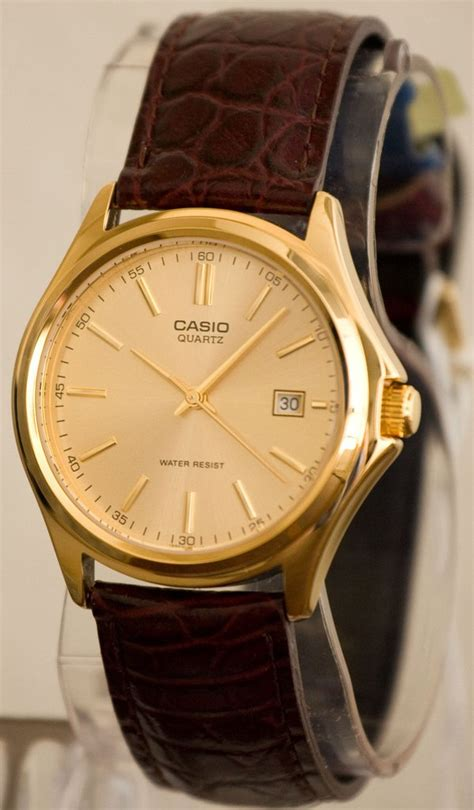 Casio Mtp 1183q 9a For casio mtp 1183q 9a dead battery s gold analogue leather band date great watches