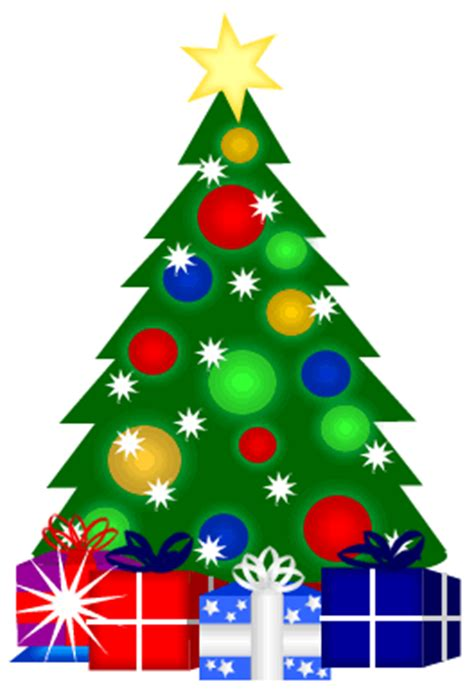 free cute clipart christmas tree with gifts clipart image