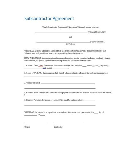 Need A Subcontractor Agreement 39 Free Templates Here Subcontractor Agreement Template Pdf