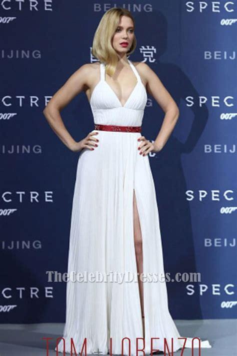 lea seydoux spectre white dress lea seydoux sexy white halter evening dress spectre