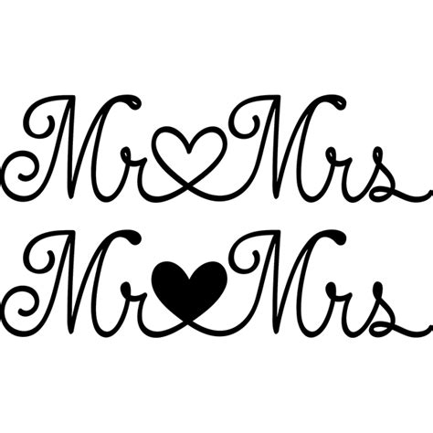 Wedding Font Silhouette by Mr Mrs Cutting Files Cricut