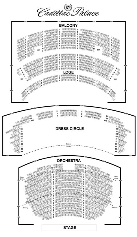 cadillac palace theatre seating chart theatre  chicago
