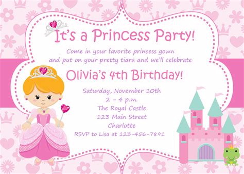 princess theme invitation template free birthday invitations templates printable drevio invitations design