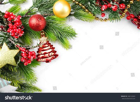 christmas decorations with berries tree branch with berries and decorations on white background stock photo 348152843