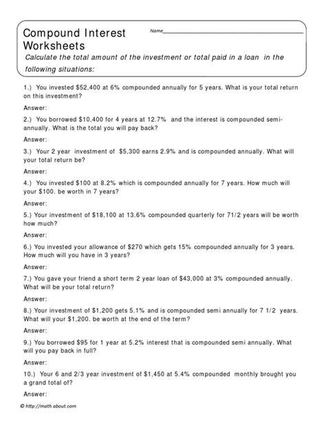 Compound Interest Worksheet Answers compound interest worksheet 1 docshare tips