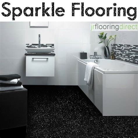 BLACK Sparkly Bathroom Flooring / Glitter Effect Vinyl