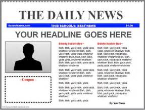 Front Page Newspaper Template by Powerpoint Newspaper Templates K 5 Computer Lab
