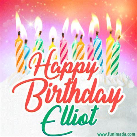 happy birthday gif  elliot  birthday cake  lit candles   funimadacom