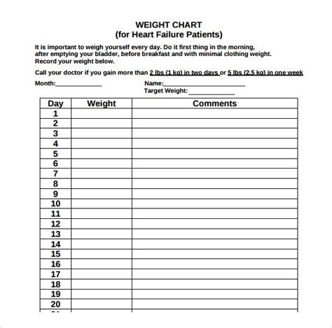 a weight loss chart sle weight loss chart 7 documents in pdf