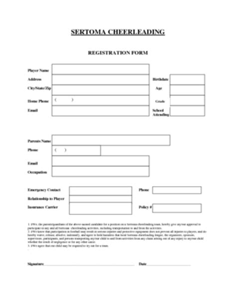 team registration form template cheerleading application form template sertoma