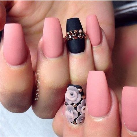matte black and pink black and pink matte nails pictures photos and images