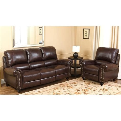 burgundy leather sofa set abbyson living herzina 2 leather sofa set in