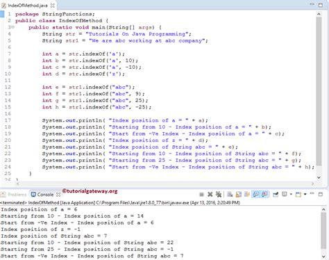 java tutorial really big index java indexof method