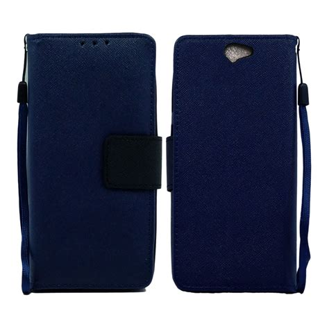 blue leather cover saapni htc one a9 leather wallet pouch cover