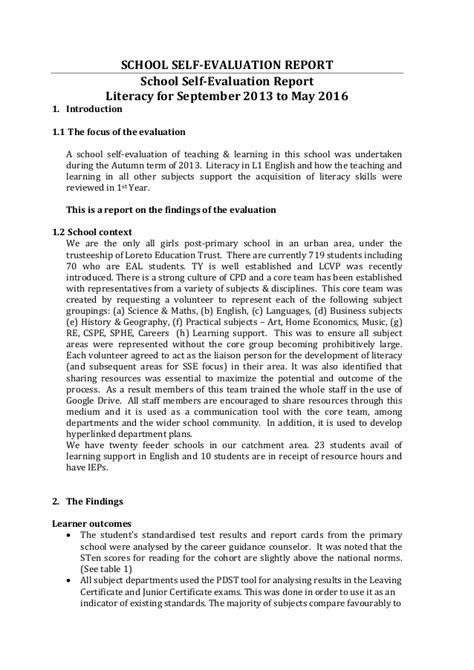 layout of a summary report lcvp handout 3 sse case study school self evaluation report
