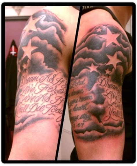 half sleeve star tattoos 20 cloud tattoos on sleeve