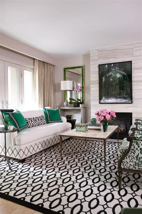 green and black living room geometry with green accents interiors by color