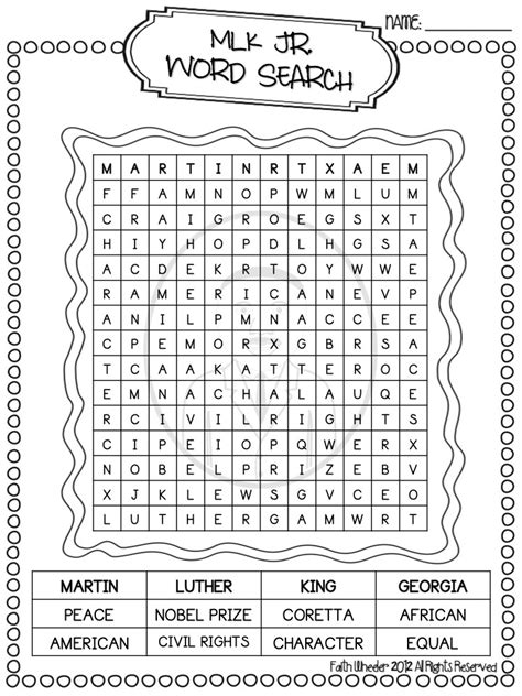 martin luther king word search worksheet mlk word search new calendar template
