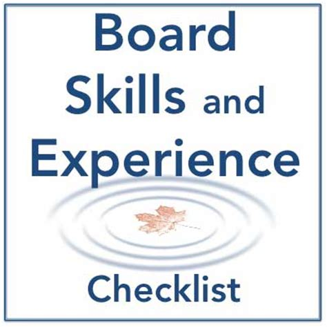 Bor Skill Board Skills And Experience Checklist Resources For The Environmental Community