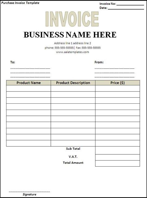 Blank Invoice Form Word Invoice Template Word 2010