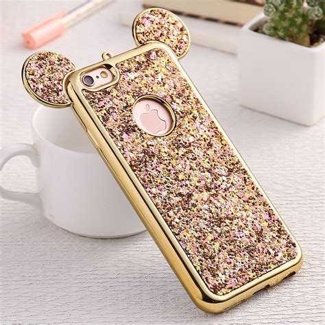 for iphone 6 6s plus gold frame bling glitter sequins
