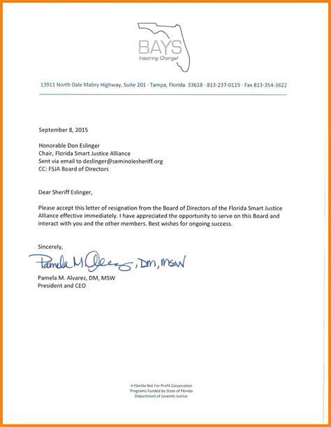 board resignation letter sample profit