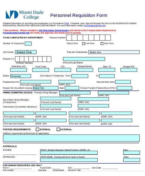 personnel requisition form template requisition form exle