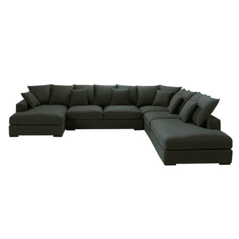 7 seater cotton modular corner sofa in charcoal grey loft